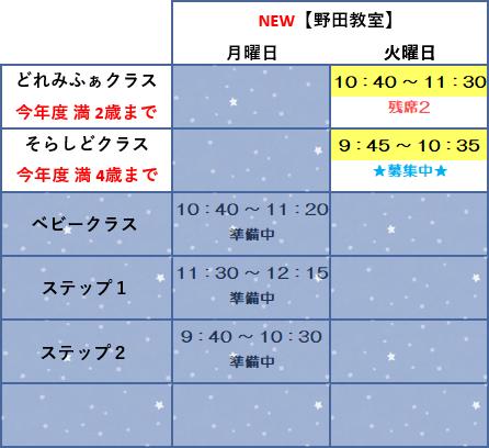 野田教室スケジュール